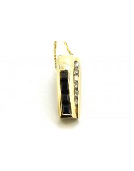 wisiorek złoty z szafirami i cyrkoniami masa 1.150g. 585