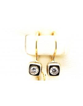 Kolczyki  złote z brylantami 0.12ct.H/SI 1.200g. 585 z certyfikatem.