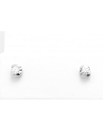 Kolczyki z białego złota z brylantami 0.12ct.H/VS-bd/bd masa 1.200g.585 z certyfikatem.