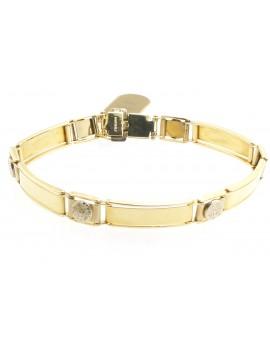 bransoletka z żółtego złota z elementami białego złota słońce 14.600g. 585 19.5cm.