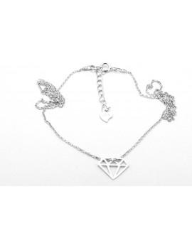 srebrny naszyjnik gwiazd celebrytka rodowany DIAMENT 1.700g. 925