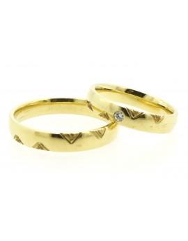 Złote obrączki z brylantem 0.035ct. H/VS 9.850g. 585 z certyfikatem