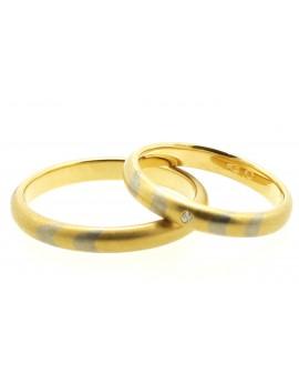 Obrączki złote z brylantem 0.01ct. H/VS 6.950g 585 z certyfikatem
