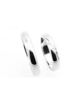 Obrączki z białego złota damska z brylantami 0.02ct.H/VS szer.4.0mm. 7.750g. 585