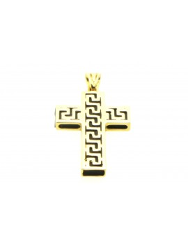 krzyżyk złoty z kauczukiem z wzorem greckim 6.700g. 750