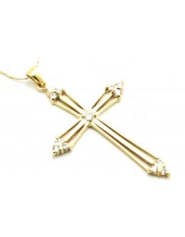 krzyżyk złoty z cyrkoniami duży masa 3.550g. 585