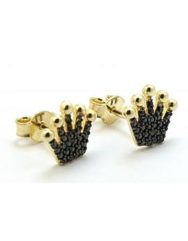 Kolczyki złote korona z czarnymi cyrkoniami 1.300g. 585