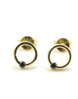 Kolczyki złote kółko z czarnymi cyrkoniami 1.200g. 585