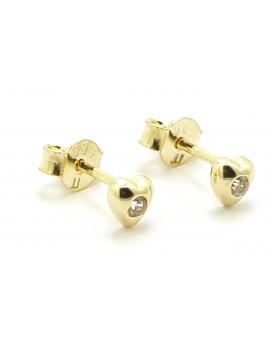 Kolczyki złote serce z cyrkoniami 0.800g. 585