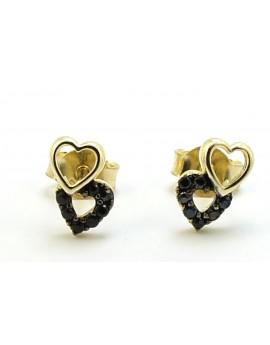 Kolczyki złote serca z czarnymi cyrkoniami 1.000g. 585