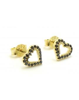 Kolczyki złote serca z czarnymi cyrkoniami 1.100g. 585