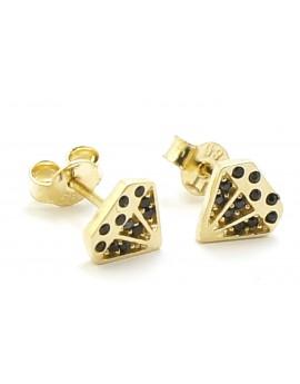 Kolczyki złote diament z czarnymi cyrkoniami 1.200g. 585