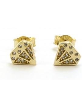 Kolczyki złote diament z cyrkoniami 1.200g. 585