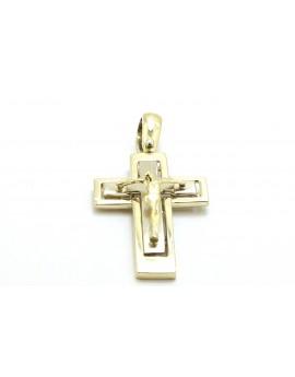 krzyżyk złoty z Panem Jezusem z elementami z białego złota 3.800g. 585