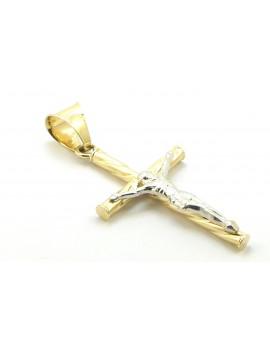 krzyżyk złoty z Panem Jezusem z białego złota 1.050g. 585