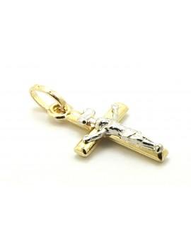 krzyżyk złoty z Panem Jezusem z białego złota 0.850g. 585