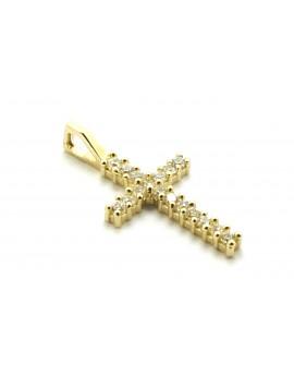 krzyżyk złoty z cyrkoniami 0.550g. 585