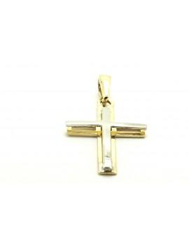 krzyżyk złoty z elementami z białego złota 1.000g. 585