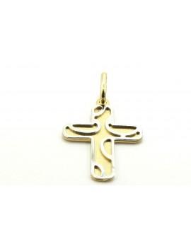 krzyżyk złoty z elementami z białego złota 0.950g. 585