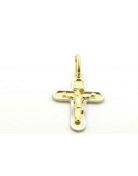 krzyżyk złoty z Panem Jezusem z elementami z białego złota 1.150g. 585