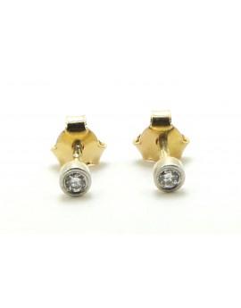 Kolczyki złote oprawa w platynę z brylantami 0.03ct.H/SI z certyfikatem autentyczności 0.800g. 585_Platyna 950