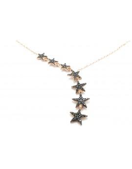 naszyjnik srebrny pozłacany gwiazdki z czarnymi cyrkoniami 3.200g. 925