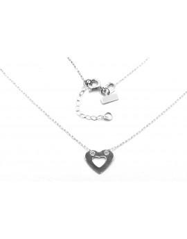 naszyjnik z białego złota celebrytka serce 1.000g. 585  42-45cm.