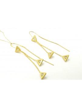 kolczyki złote wiszące z cyrkoniami na łańcuszku 3.150g. 585
