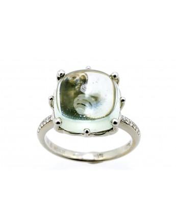Pierścionek z białego złota z kamieniem syntetycznym i 14 brylantami 0.08ct.F/VS masa 6.000g.750