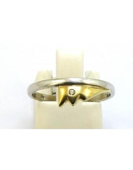 Pierścionek z białego złota z brylantem 0.008ct. H/SI  masa 2.100g. 585 z certyfikatem.