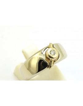 Pierścionek z białego złota z brylantem 0.05ct. H/SI  masa 5.100g. 585 z certyfikatem.