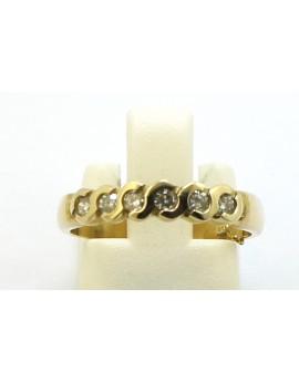 Pierścionek złoty z brylantami 0.18ct. I/SI masa 2.650g. 585 z certyfikatem.