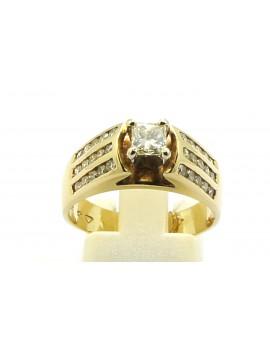 Pierścionek złoty z brylantami 1.15ct. I/SI masa 6.300g. 585 z certyfikatem.