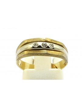 Pierścionek złoty z brylantami 0.07ct. H/VS masa 3.000g. 585 z certyfikatem.