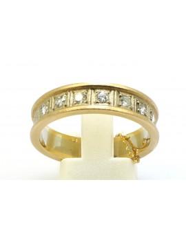 Obrączka złota z brylantami 0.40ct. I/SI masa 8.500g. 585 z certyfikatem.