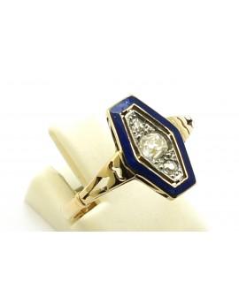Pierścionek złoty z platyną i diamentami 0.26ct. I/SI emalia masa 2.850g. 585 z certyfikatem.