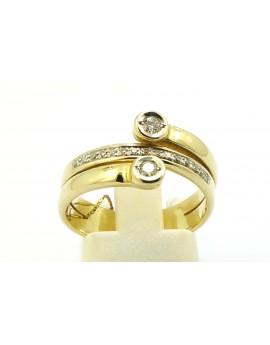 Pierścionek złoty z brylantami 0.20ct. H/VS masa 5.200g. 585 z certyfikatem.