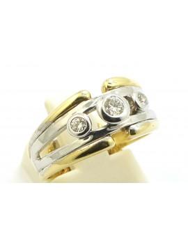Pierścionek złoty z brylantami 0.21ct. I/SI masa 4.500g. 585 z certyfikatem.