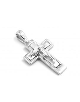 krzyżyk z białego złota z Panem Jezusem 4.000g. 585