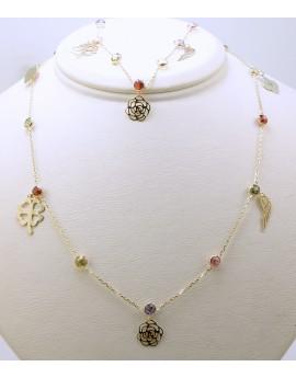 naszyjnik choker złoty z kolorowymi kamieniami i wisiorkami skrzydło serce kwiat koniczynka 3.100g. 585 42-47cm.