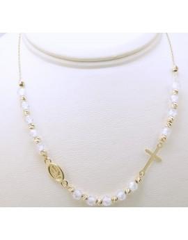 naszyjnik choker różaniec złoty z białymi kamieniami 3.700g. 585 45-48cm.