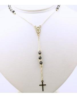 różaniec złoty choker z czarnymi kamieniami 6.500g. 585 45-50cm.