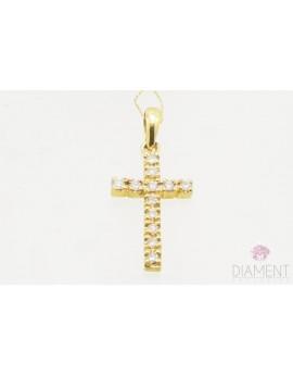 Wisiorek złoty krzyż z brylantami 0.25ct. J/P1 z certyfikatem  1.400gr. 585