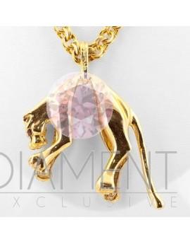 Złoty wisiorek pantera z brylantami 0.06ct.H/VS i rubinami masa 8.200gr. 585