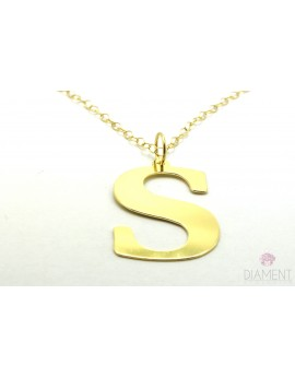 Srebrny pozłacany naszyjnik duża literka S z łańcuszkiem 5.000g. 925
