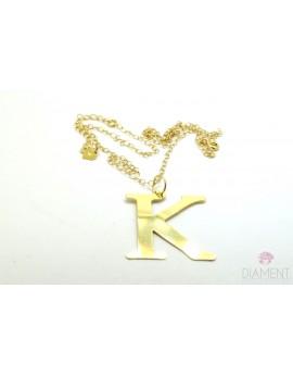 Srebrny pozłacany naszyjnik duża literka K z łańcuszkiem 5.000g. 925