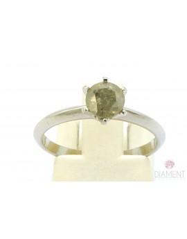 Pierścionek z białego złota z brylantem 0.83ct. P/P3 2.100g. 585 z certyfikatem kolekcja pieprz i sól