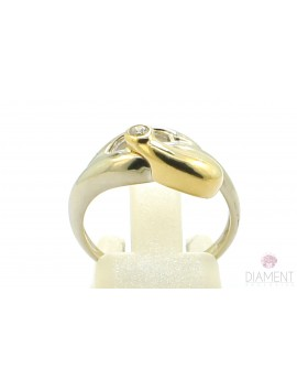 Pierścionek z białego złota z brylantem 0.06ct. B/VS  3.800g. 585 z certyfikatem kolekcja pieprz i sól