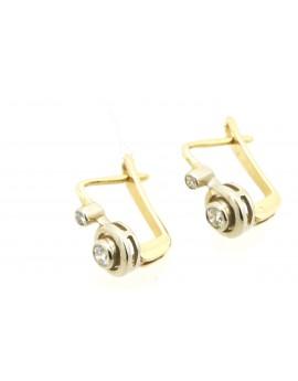 Kolczyki  złote z brylantami 0.27ct.H/VS  masa 3.150g. 585 z certyfikatem.