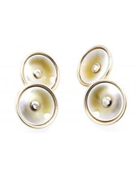 Spinki złote do mankietów z masą perłową i brylantami 0.12ct. H/VS-bd/bd z certyfikatem.